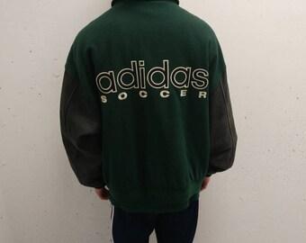 1990s Adidas Soccer Jacket Vintage Adidas Coat Adidas Bomber Varsity Jacket