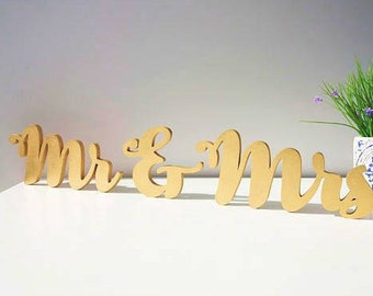 Mr & Mrs gold sign. Wedding table decor.  Freestanding set . Wedding Table Sign .