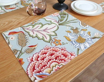 Set of 2 Premium Handmade Placemats Japanese Floral Flower Print Quilted for Dining Table Cloth Linen Napkin - Green Red White - Reversible
