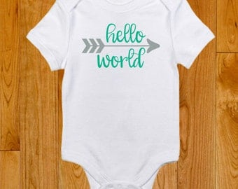 Hello World - Going Home Outfit - Neutral Baby Clothes - Baby's First Outfit - Baby Shower gift - Unisex Outfit - Welcome Home Baby