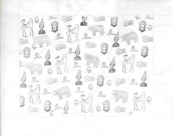Dada Art - Modern Art Print - Marcel Duchamp - Picasso Gaglionie - Stamp Art - Fluxus - Rubber Stamp -  Neo Dada - Nam June Paik - Lennon