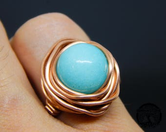 Wire wrapped ring Blue jade ring Copper ring Steampunk ring Wire wrap ring Mens ring Womens ring Magic ring Best gift For her For mom