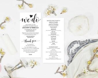 Boho program template, Boho wedding program pdf, Editable pdf, Instant download program, We do wedding program, Ceremony program download