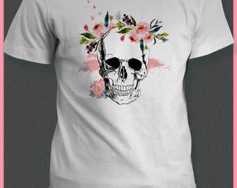 Womens SUGAR SKULL T shirt - Skull TShirt-Day Of The Dead Skull Clothing-Girlfriend Gift-Womens Graphic Tee-Dia De Los Muertos-Birthday