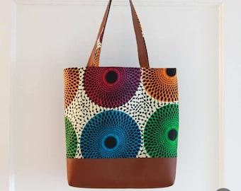 Tote Bag - Weekend Bag - School Bag - Weekend Tote - Canvas Bag - Leather Bag - African Bag - Laptop Bag - Work Bag - Kitenge