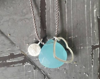 Necklace with aqua blue chalcedony pendant