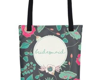Bridesmaid Tote Gift | Bridesmaid Tote | Bridesmaid Tote Bags | Totes For Bridesmaid | Bridal Party Tote | Floral Bridesmaid Tote