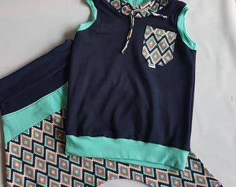 harem pants and sleeveless hoodie set