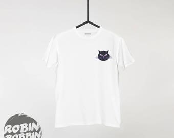 Black Cat Shirt - Halloween Shirt - Unisex or Womans Shirt Vneck Option - Ghost shirt, funny Halloween shirt,Halloween outfit,cute Halloween