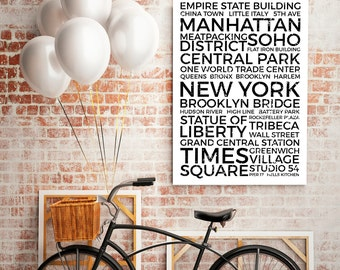 Manhattan Poster, Minimalism Poster, NY Neighborhood Print, Manhattan Neighborhood Typography City Map Prints