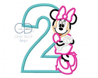 Girl Mouse Applique Design, Second Birthday Embroidery Design, Second Birthday Mouse Embroidery Design