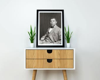 Booker T. Washington Portrait Photo, 1895,  Black and White Photography, African American Art