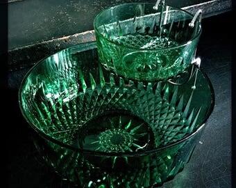 Vintage Chip And Dip Set | Emerald Green | Chip & Dip | Serving Bowls