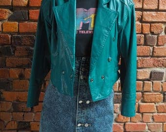 Women's 80s Green Cropped Leather Jacket With Shoulder Pads Size Small 838
