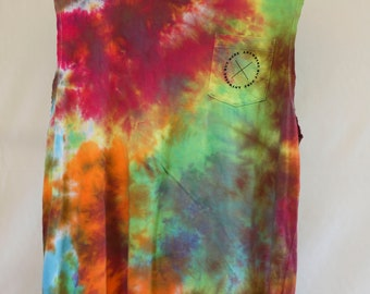 Mens Lg - Tank Singlet - Ready To Ship - Unisex - Spiral Tie Dyed - 100% Cotton - FREE SHIPPING within AUS