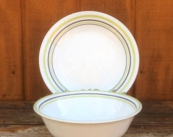 Garden Sketch Bands Dishes | Corelle PYREX Corning | Dinner Plates, Cereal Bowls & Bread and Butter Plates | Green and Black Trim Stripes