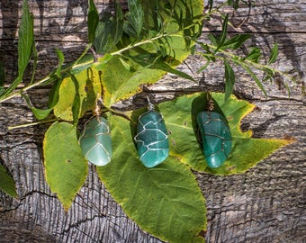 Green Aventurine Necklace - Tumbled Wire Wrapped