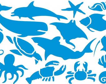 Blue Silhouettes of Sea Animals Set 30 pcs