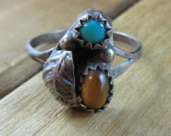 Vintage Turquoise and Tiger's Eye Ring Size 7 Southwest Native American