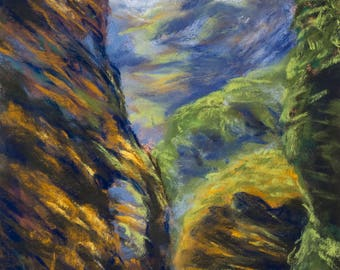 Spain Cliff Pastel Painting