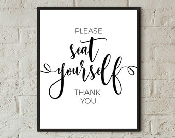 seat yourself bathroom sign printable bathroom wall art please seat yourself funny bathroom art quotes bathroom wall decor washroom wall art