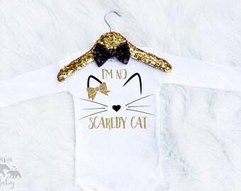 Baby Girl's Halloween Cat Onesie - Scaredy Cat Shirt - Halloween Onesie - Cat Costume -Toddler Cat Costume - Halloween Costume