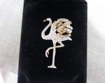 Signed Carolee 20th Anniversary Flamingo Gold-Tone Rhinestone Brooch, With Original Box!