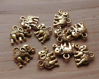 10 x Zinc Alloy Gold Elephant Charms for Jewellery Making