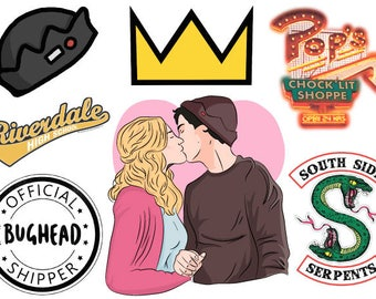 Riverdale A4 sticker sheet | Bughead | Jughead Jones Archie Andrews Betty Coopper Veronica Lodge Cheryl Blossom | Bughead crown Pizza food