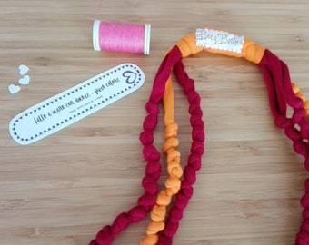 Three-wire cotton knots necklace Orange and Burgundy