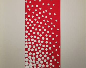 Contemporary artwork from collection κόκκινο(red) , acrylic colour with details of clay , 90x30 , 2017 , Athens