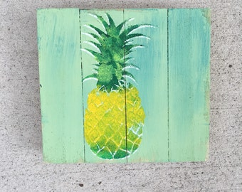 Pineapple wall art, Welcome pallet art, Coastal Decor, Coastal wood art