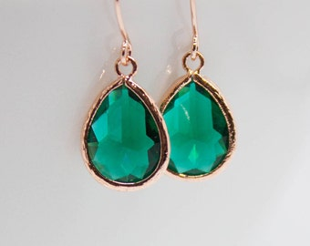 Rose gold drop earrings Emerald Emerald