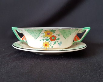 An Exquisite Art Deco Burleighware 'Maytime' Soup Bowl and Saucer Set