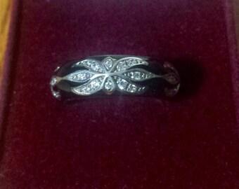 Vintage Black Onyx 925 Silver Rhinestone Ring Size 8