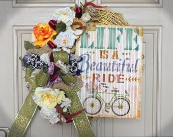 Year Round Wreaths, Fall Wreaths, Everyday Wreaths, Floral Wreaths, Decorative Wreaths, Door Wreaths, Bicycle Wreath