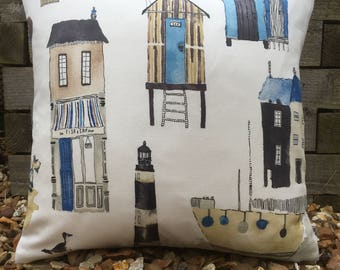 Two Ugly Sisters-Seaside Cushion and Feather Pad|Beach Hut Cushion|Lighthouse Cushion|Boat Cushion|Seagull Cushion Ice Cream| Fish and Chips