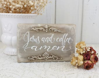 Jesus and coffee Amen sign Small wooden reclaimed wood block Vintage Rustic style kitchen art Prayer home decorations Gift for coffee lover