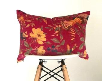 13 x 19 Vintage Velvet Pink (Fuschia) Lumbar Pillow Cover from India, Boho Pillow Cover, Nursery Pillow Cover, Vintage Pillow Cover