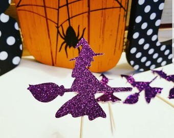 Witch Cupcake topper,Witch toppers,Halloween toppers