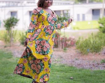 Floral Beam Wrap Dress (African Ankara)