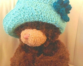 Turquoise Teal Crochet Sun Hat for Baby, Toddler, Small Child