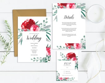 Floral Wedding Invitation Template Suite | Printable Wedding Invite Set | DIY Wedding Watercolour Invites Template | Invitation Templates