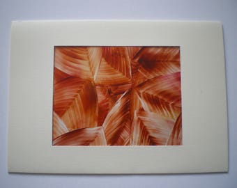 Autumn beech leaves, Original encaustic wax art greetings card