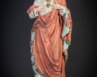 "16"" Wonderful Sacred Heart of Jesus Antique Plaster Statue Christ Figurine"