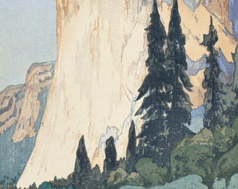 "Japanese Art Print ""El Capitan, Yosemite"" from the American Series by Yoshida Hiroshi, woodblock print reproduction, national park, America"