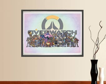Overwatch Poster, Video Game Poster, wall art, Printable home decor, Digital instant download, Overwatch digital paint, cool kids room decor