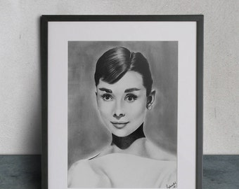 Audrey Hepburn, Graphite Drawing, Original
