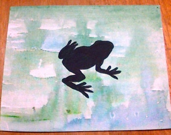 Frog Silhouette Canvas Board Painting