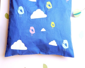 Printed Cotton Tote Bag // Folk Birds and Hearts with Clouds // rainbow colours // cute & sweet present